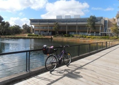 On weekends the peaceful gardens of the West Coast Institute of Technology in Joondalup are a lovely place for littles to cycle around