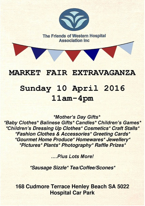 western sports ortho and gp practice, Market Fair Fundraiser for Friends of Western Hospital, western hospital henley beach SA, western community hospital, free event, fete, Mothers Day, childrens activities, sausage sizzle, Devonshire tea