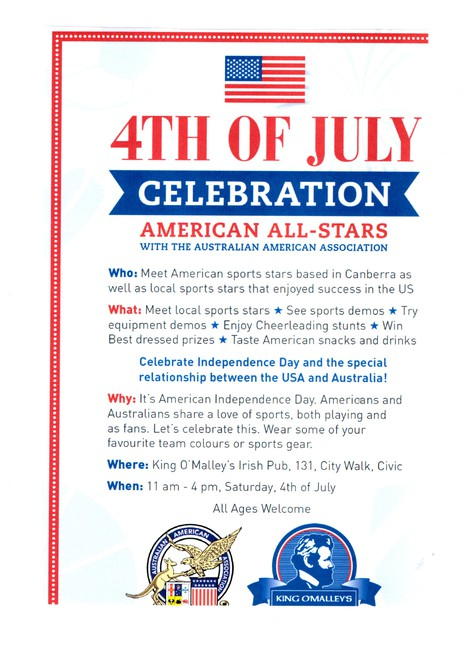 AAA 4th of July, 2015 , Canberra, King O'Malleys irish pub.
