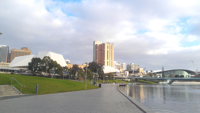 Adelaide's cultural precinct along the Torrens River.