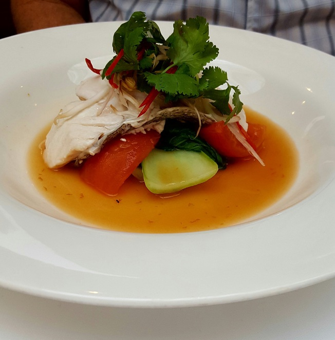 Fish, broth, fine dining, lunch