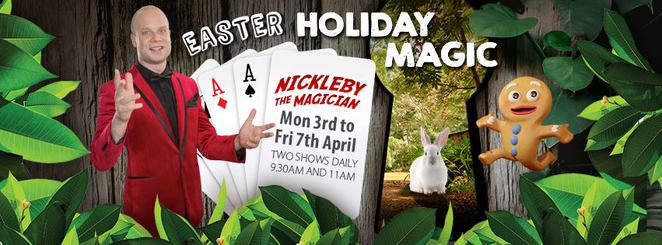 Free Easter Holiday Magic Show, Ginger Factory, Yandina, Nickleby the Magician, Mr. Fluffybum the rabbit, school holidays, Super Bee Tour, Ginger Train Ride on Moreton, free undercover all-weather playground, free self-guided walks, free giant Snakes and Ladders and Checkers, whole family