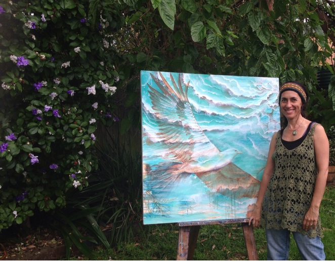 Gabbi Lancaster in her garden at home art Elemental Exhibition