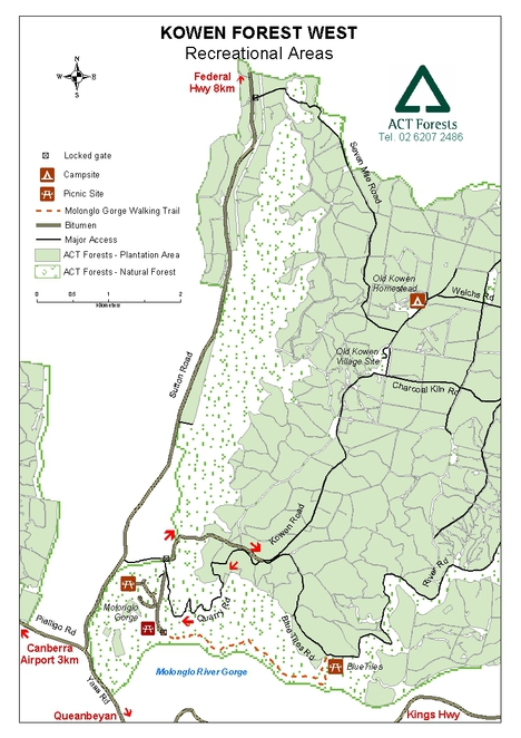 map of kowan forest recreation areas, molonglo gorge