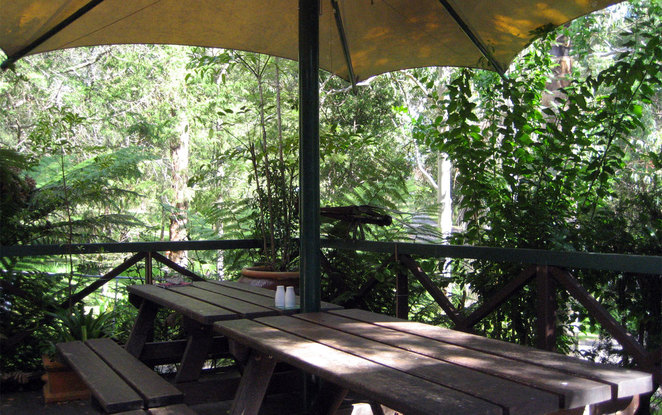 The Falls Cafe has seating inside and out on the shady deck