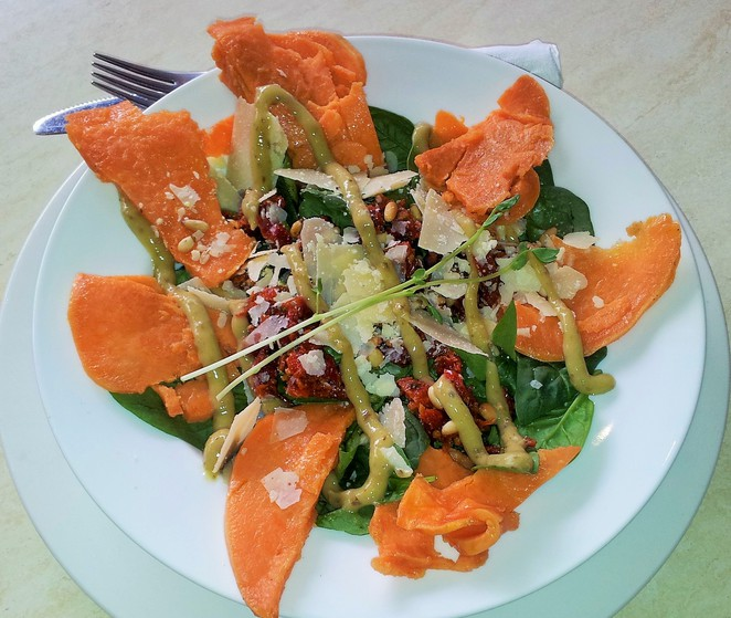 sweet potato and baby spinach salad