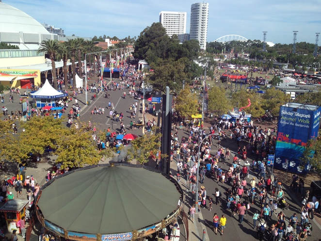 Aerial view of the showgrounds during the Sydney Royal Easter Show