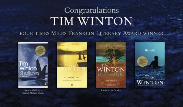 Tim Winton has won the Miles Franklin award for literature four times.