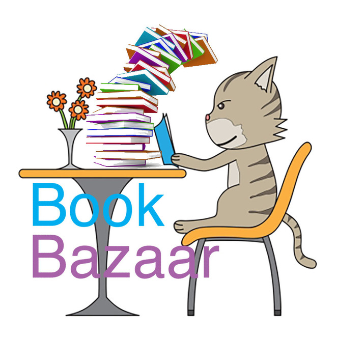 Book Bazaar Extended Hours Half Price Sale Cat and stack of books