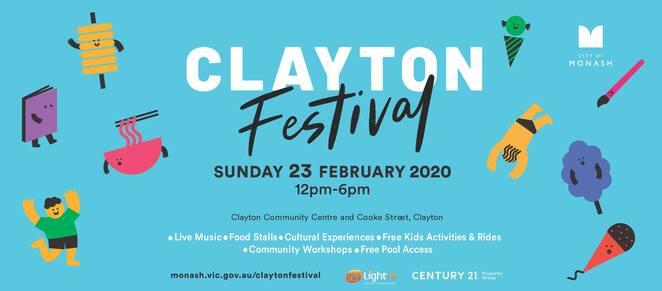 clayton festival 2020, community event, fun things to do, free festival, city of monash, clayton community centre, market stalls, food trucks, bar, roving performers, live entertainment, cultural experiences, free kids activities, family fun