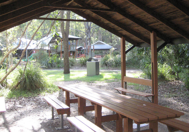 Covered picnic tables at the Raven Street Reserve
