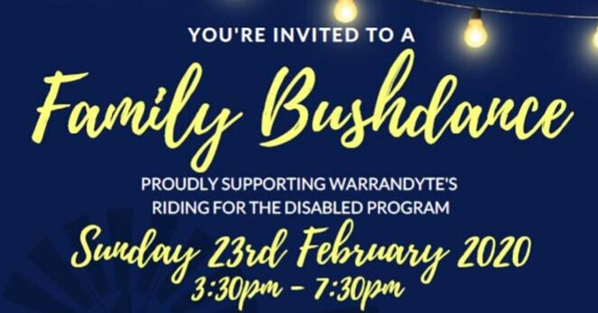 family bushdance 2020, community event, fun things to do, rda warrandyte, riding for the disabled program, boot scootin fun, dancing, live music, lance peele band, picnic platter, whippy truck, alcohol free, family fun, fundraiser, charity, bendigo bank, aim hire, ridley corporation
