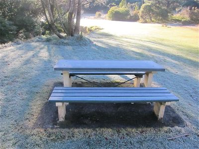 Frosty bench in a park in Katoomba.
