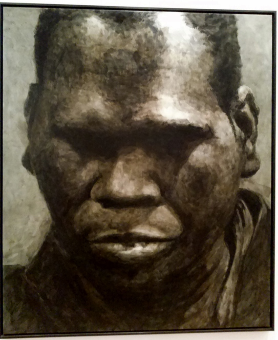 Geoffrey Gurrumul Yunupingu (2009) by artist Guy Maestri (born 1974), archibald prize, national portrait gallery, ACT, art,