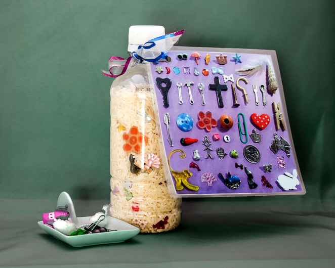 I_spy, bottle rice, kids'game, craft