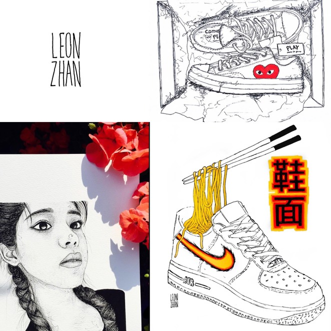 Collage of works by artist Leon Zhan