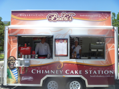 Bodri's Bakery and Cafe Food Truck, Lucaffe coffee, chimney cakes, Adelaide Food Trucks, Victoria Square, Hungarian street food in Adelaide