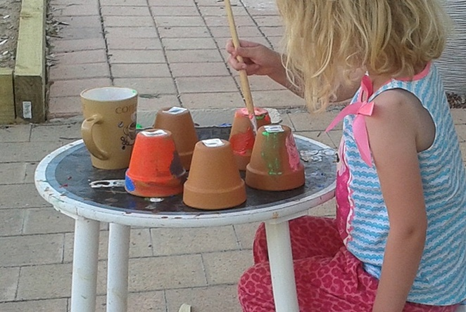 painting pots, painting, school holiday activities, painting, pots, bunnings, isolation, kids, children, australia, crafts,