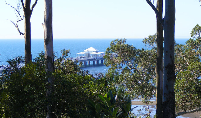 Shorncliffe Pier seen from the walk that goes along the top of the cliffs