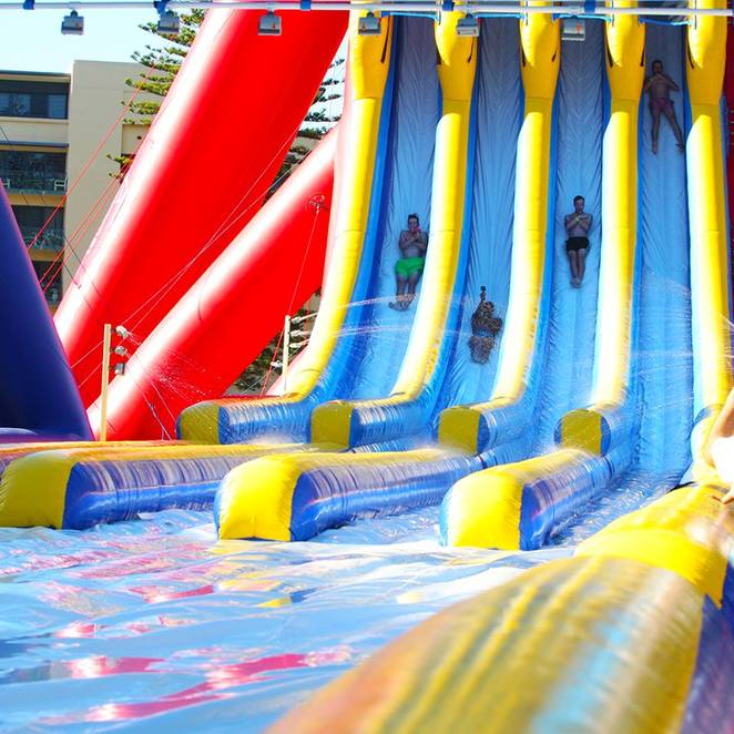 The Big Wedgie, thrill seekers, not for the faint-hearted, tallest and most extreme inflatable waterslide, 18.2 metres, 82 metres long, 55 degree drop, Just Right Wedgie, moderate level, Little Wedgie, minor level, online specials, summer fun, the Big Chuckawrap=