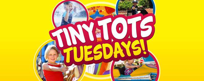 Tiny Tots Tuesdays, Aussie World, FIRST Tuesday every month except school holidays, birth to two years FREE, over three years $15, online $12, new Little Beaut Toot Toot, Tin Lids Tea Party, Carousel, Giggle Go Round, Ferris Wheel, Platypus Ponds Mini Golf, Leak 'n Logs Water Play Area, one free coffee per customer