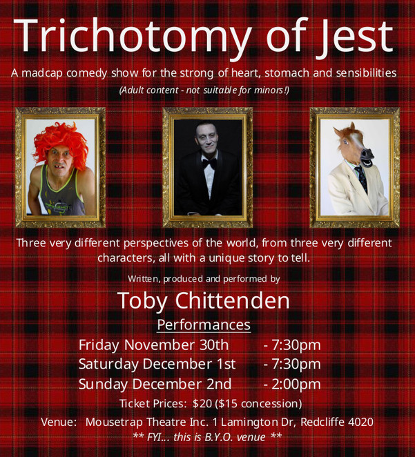 toby chittenden, trichotomy of jest, mousetrap theatre, the torch enterprise