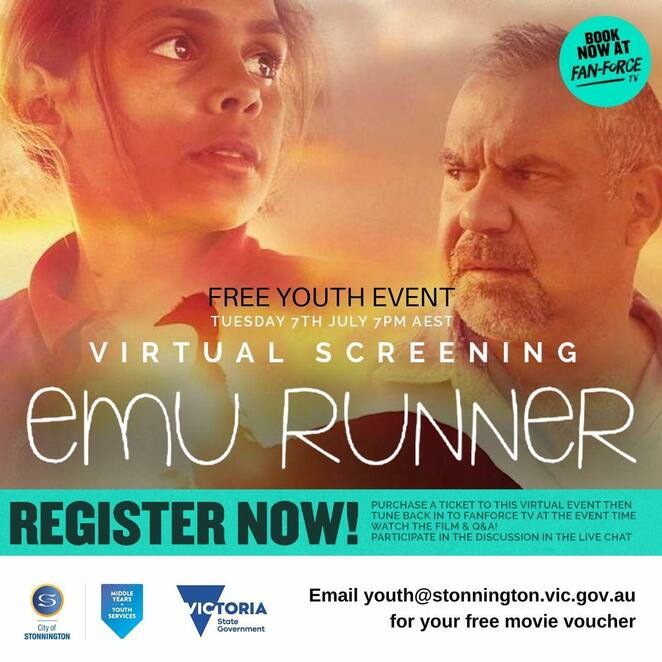 virtual screening emu runner 2020, emu runner film event, free youth film eent 2020, cinema, entertainment, community event, fun things to do, fun for youth, stonnington youth services, aboriginal content film, fanforce tv, actors, performing arts, expressions, movies, film, diversity, chill time, culture, popcorn time, movie buff