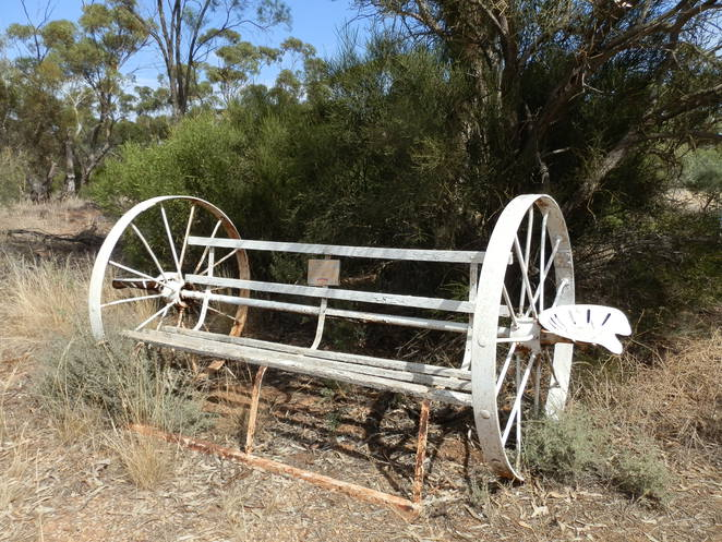 wheel seat, Clements Gap, former school site, bush setting, Australiana