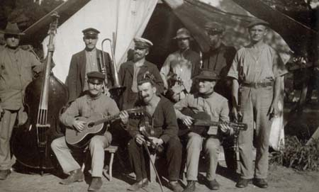 A group of musicians at Rottnest Island camp, c. 1915 (NAA: PP14/1, 5/15/3)