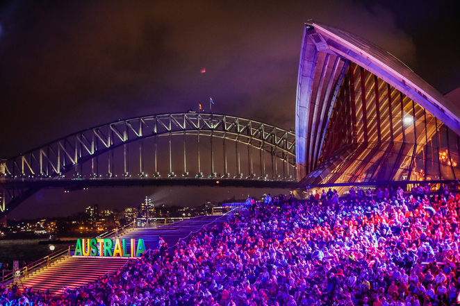 australia day live 2019 sydney, community event, cultural event, fun things to do, circular quay, family fun, fireworks, flotilla of yachts, live bands, music rock stars, big screen, jet skis, flyboarders, concert, entertainment, nsw australians of the year, welcome to country, aboriginal elders, sunset ceremony, tribute to opera, sydney street party, sydney opera house, nsw government, destination nsw, big picture, sofitel wentworth, accorhotel, celebrate australia