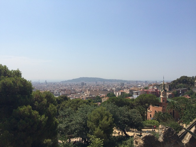 barcelona panorama viewpoint park guell city skyline