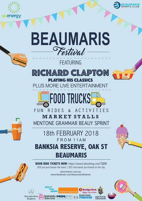 beaumaris festival 2018, a day on oak street, beaumaris sports club, community event, fun things to do, family fun, food trucks, rides, entertainment, live acts, richard clapton, banksia reserve, market stalls, mentone grammer beauy spring, rides, live music