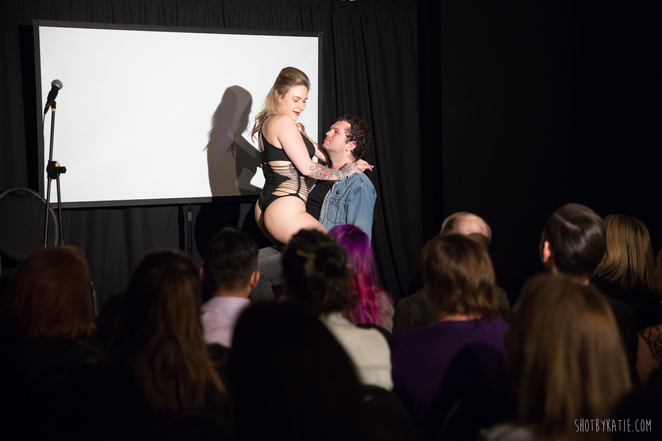 Bella Green performing a section of sketch comedy. Photo credit: Katie Dutton.