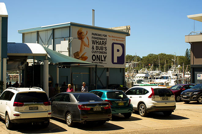 Bud's Seafood Nelson Bay. Free Parking