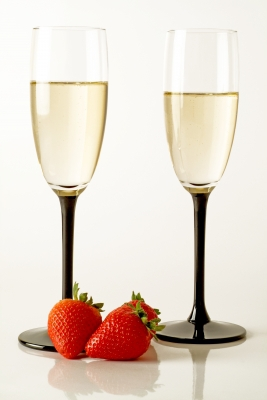 Champagne Flutes with Strawberries