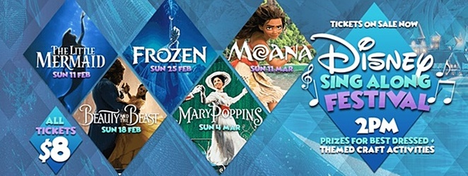 disney sing along, tuggeranong, limelight cinema, kids, greenway, canberra day long weekend, movies, cinemas, kids movies, 2018, march,