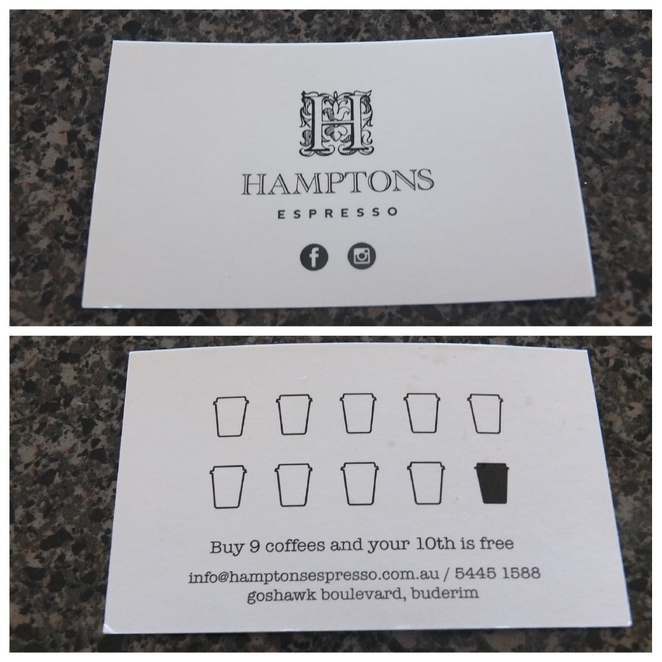 Hamptons Espresso Buderim, Goshawk Boulevard, University of Sunshine Coast, Sippy Downs Coles, open seven days a week, coffee, tea, smoothies, light breakfast, light lunch, friendly, fast, efficient, loyalty card, parking, welcome addition to Buderim coffee scene