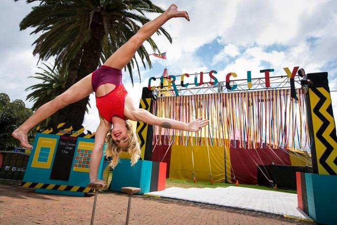 Members of Circus Oz at Circus City, Prince Alfred Square, Parramatta