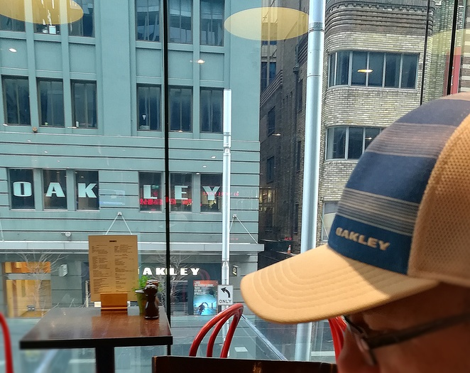 oakley store, george street, sydney, opposite oakley store, cafe, grilled houllumi stack, caffe dante, sydney, breakfast, lunch, coffee, outside uniqlo, upstairs, midcity centre, sydney CBD. cafes in sydney, george street, NSW, shopping centres, upstairs,