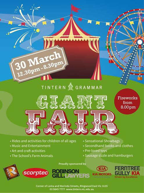 tintern grammar 2019 giant fair, community event, fun things to do, ringwood east, fun for kids, entertainment, fundraiser, charity, activities, rides, sideshow alley, family fun