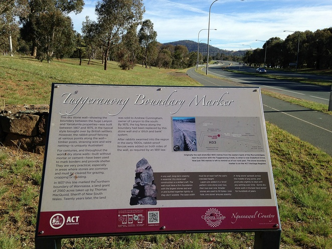tuggeranong boundary wall, greenway, early settler, history, dry stone wall, stacked stone, ACT, canberra, tuggeranong wall,