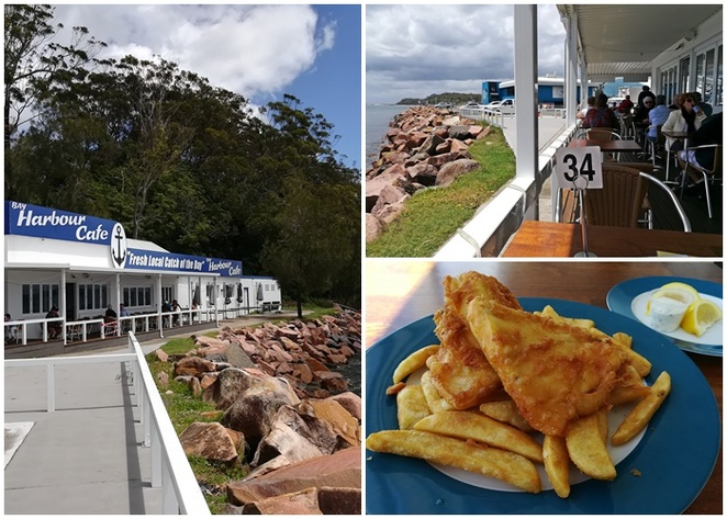 bay harbour cafe, fish and chips, dog friendly, nelson bay, port stephens, NSW, dogs, best fish and chips,