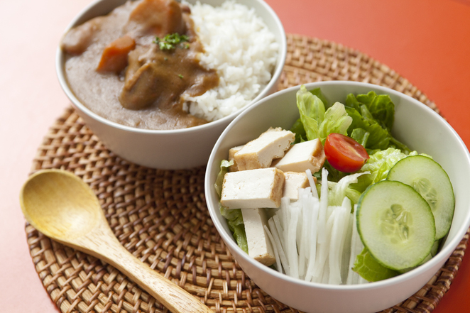Healthy Curry and Salad Combo