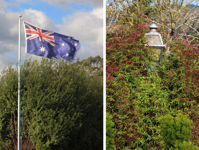 Flag and garden lamp.