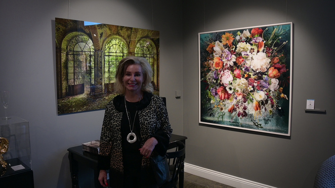 Janet Heritage LUMAS artwork owner back to celebrate and thinking art on the ceiling