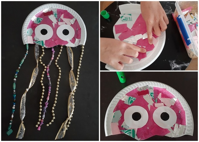 jelly fish, paper craft, paper plates, things to make with plastic plates, collage, things to make with paper, australia, cheap, budget, australia, kids, school holidays, rainy day ideas, using materials from home,