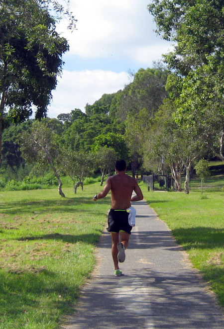 Jogger in a park in Brisbane