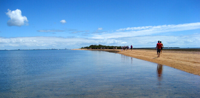 Walking on the Sandbar out to King Island at Wellington Point