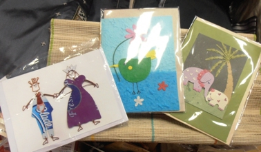 Hand-crafted cards at the Perth Oxfam shop.