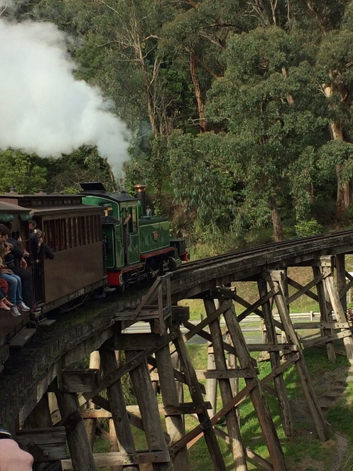 Puffing billy , steam train , family , day , fathers